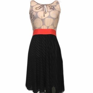 MAEVE Silk Midi Dress Black Orange Tan Summer